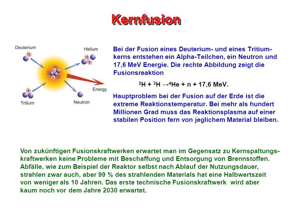 KernfusionKernfusion Bei der Fusion eines Deuterium- und eines Tritium- kerns entstehen ein Alpha-Teilchen, ein Neutron und 17,6 MeV Energie. Die rech