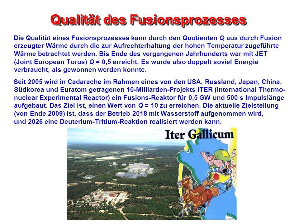 Qualität des Fusionsprozesses Die Qualität eines Fusionsprozesses kann durch den Quotienten Q aus durch Fusion erzeugter Wärme durch die zur Aufrechte