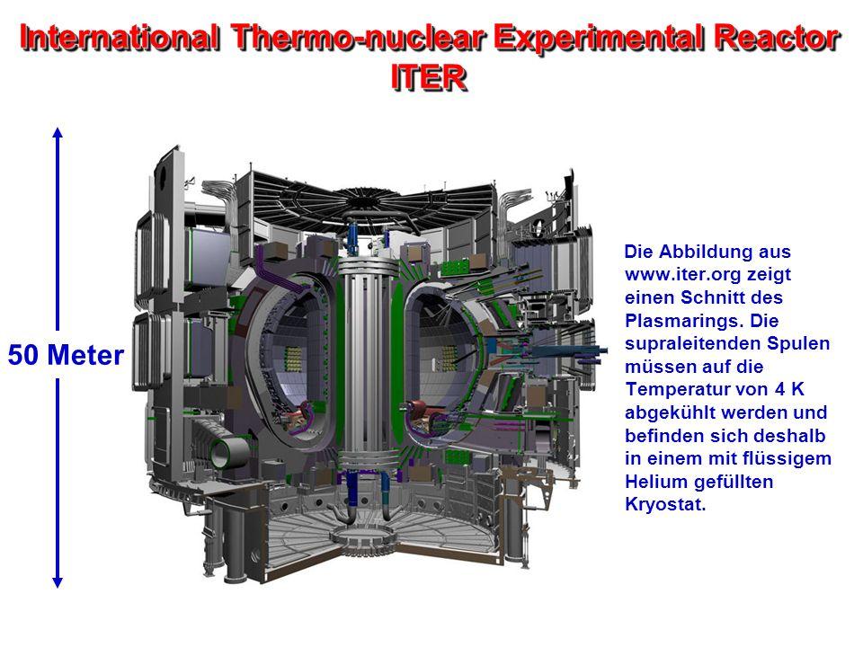 International Thermo-nuclear Experimental Reactor ITER Die Abbildung aus www.iter.org zeigt einen Schnitt des Plasmarings. Die supraleitenden Spulen m