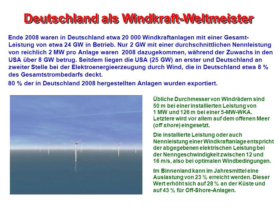 Deutschland als Windkraft-Weltmeister Ende 2008 waren in Deutschland etwa 20 000 Windkraftanlagen mit einer Gesamt- Leistung von etwa 24 GW in Betrieb