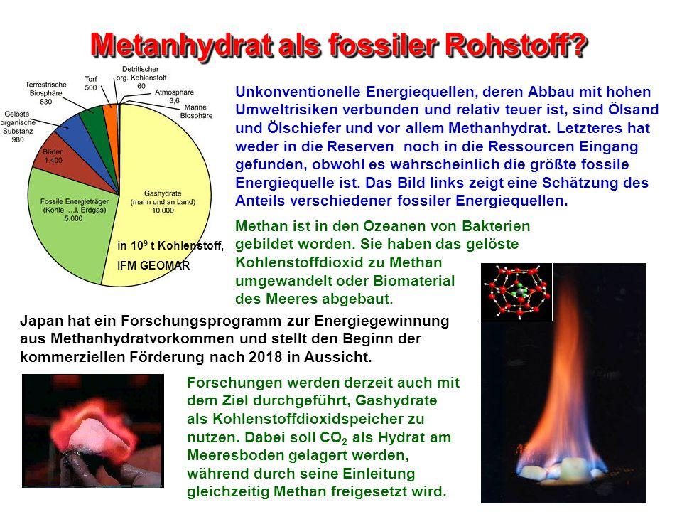 Metanhydrat als fossiler Rohstoff? Unkonventionelle Energiequellen, deren Abbau mit hohen Umweltrisiken verbunden und relativ teuer ist, sind Ölsand u