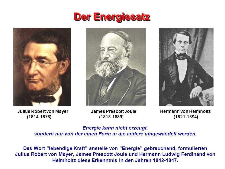 Der Energiesatz Energie kann nicht erzeugt, sondern nur von der einen Form in die andere umgewandelt werden. Das Wort