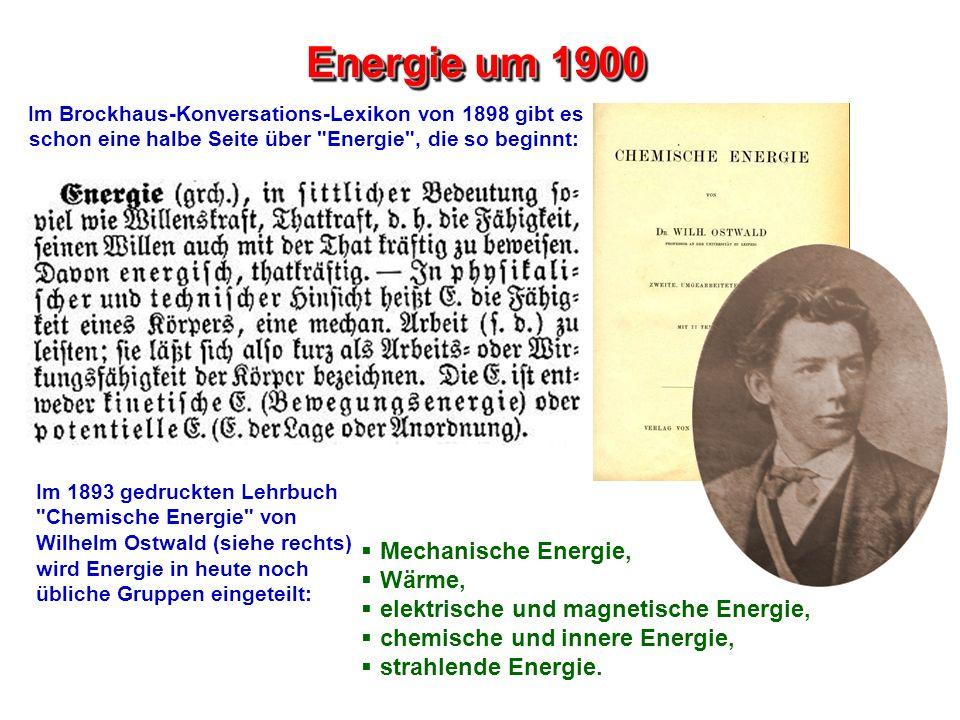 Energie um 1900 Im Brockhaus-Konversations-Lexikon von 1898 gibt es schon eine halbe Seite über