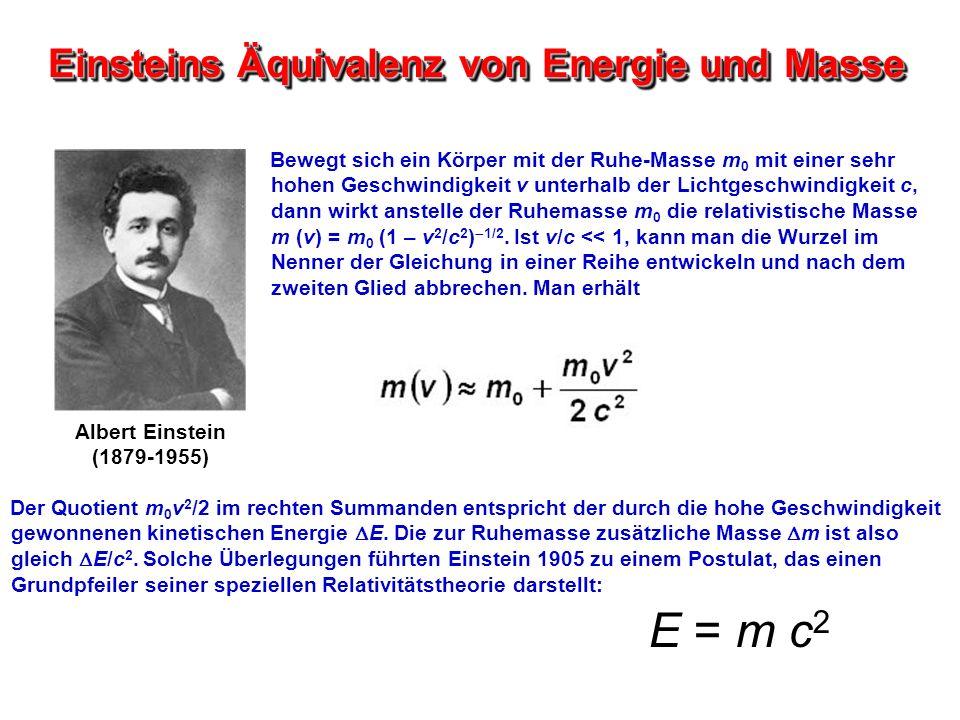 Einsteins Äquivalenz von Energie und Masse Bewegt sich ein Körper mit der Ruhe-Masse m 0 mit einer sehr hohen Geschwindigkeit v unterhalb der Lichtges