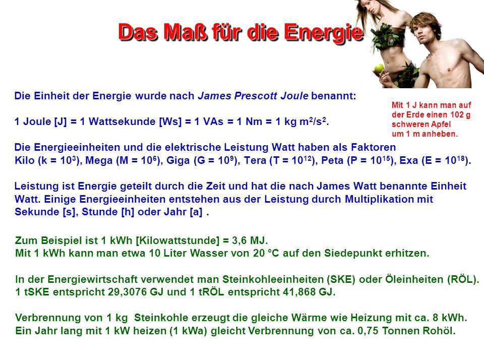 Das Maß für die Energie Mit 1 J kann man auf der Erde einen 102 g schweren Apfel um 1 m anheben. Zum Beispiel ist 1 kWh [Kilowattstunde] = 3,6 MJ. Mit