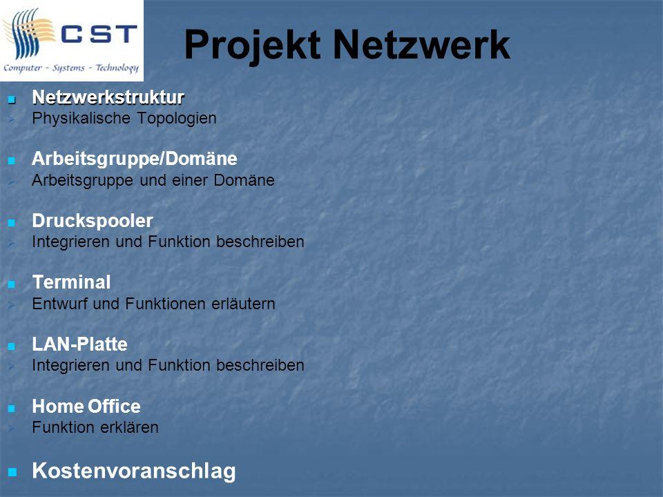 Projekt Netzwerk Netzwerkstruktur Netzwerkstruktur Physikalische Topologien Arbeitsgruppe/Domäne Arbeitsgruppe und einer Domäne Druckspooler Integrier