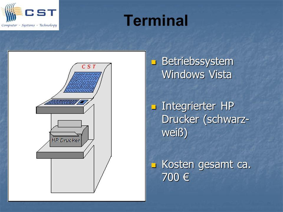 Terminal Betriebssystem Windows Vista Betriebssystem Windows Vista Integrierter HP Drucker (schwarz- weiß) Integrierter HP Drucker (schwarz- weiß) Kos