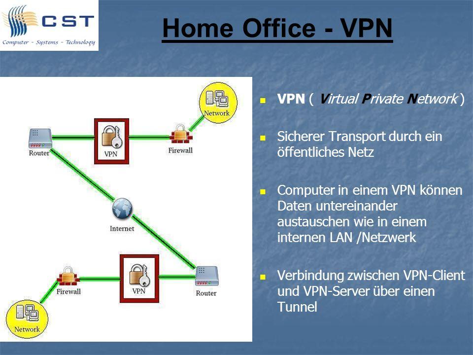 Home Office - VPN VPN ( Virtual Private Network ) Sicherer Transport durch ein öffentliches Netz Computer in einem VPN können Daten untereinander aust
