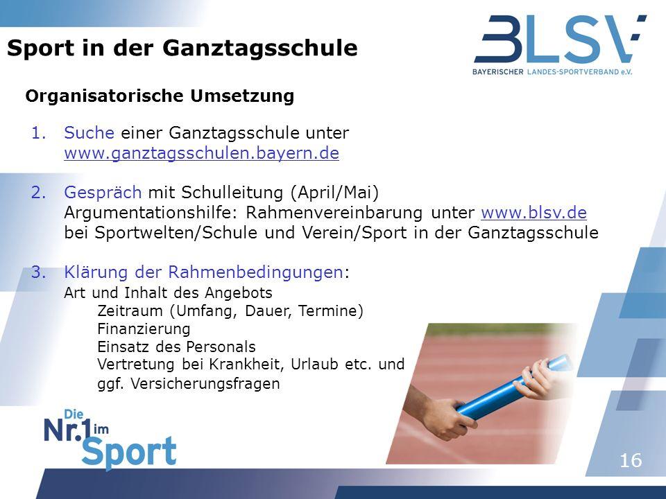 16 Sport in der Ganztagsschule Organisatorische Umsetzung 1.Suche einer Ganztagsschule unter www.ganztagsschulen.bayern.de 2.Gespräch mit Schulleitung