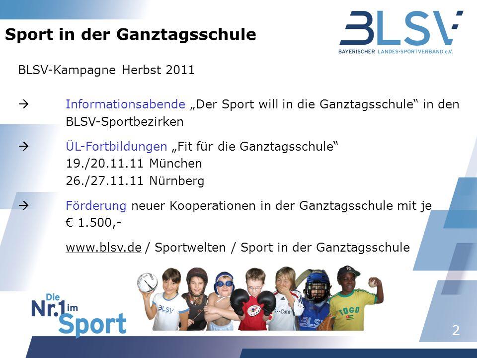 2 Sport in der Ganztagsschule BLSV-Kampagne Herbst 2011 Informationsabende Der Sport will in die Ganztagsschule in den BLSV-Sportbezirken ÜL-Fortbildu