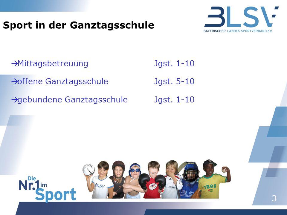 3 Sport in der Ganztagsschule MittagsbetreuungJgst. 1-10 offene Ganztagsschule Jgst. 5-10 gebundene GanztagsschuleJgst. 1-10