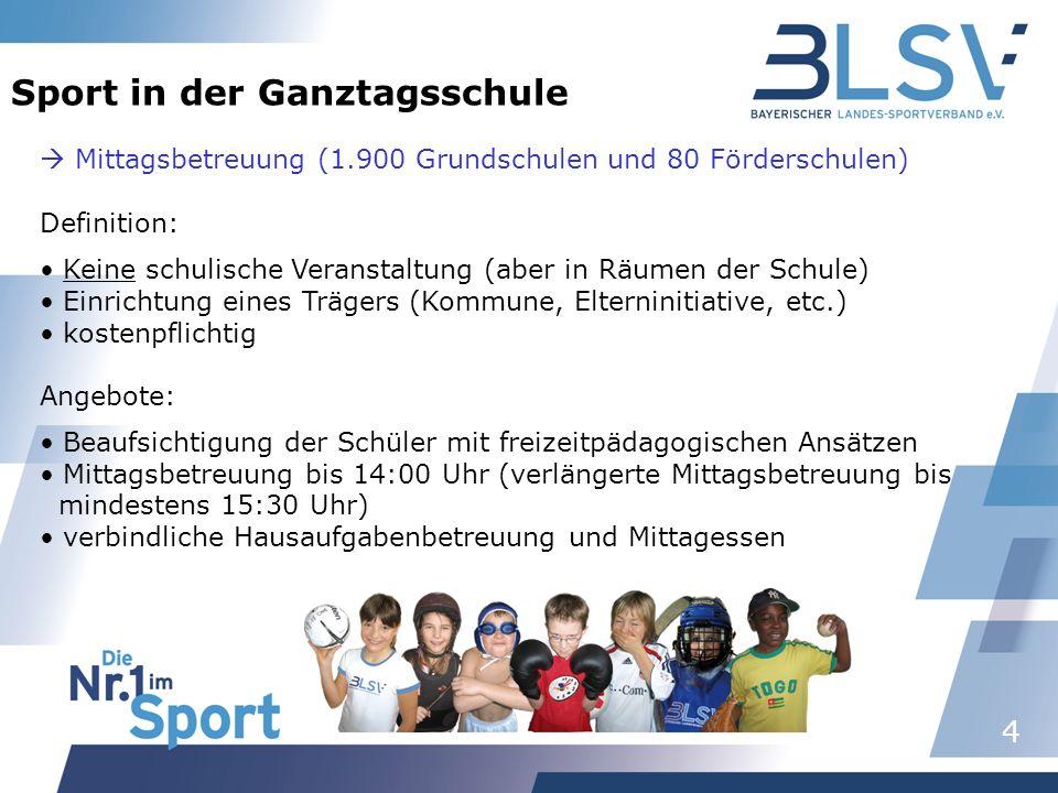 4 Sport in der Ganztagsschule Mittagsbetreuung (1.900 Grundschulen und 80 Förderschulen) Definition: Keine schulische Veranstaltung (aber in Räumen de