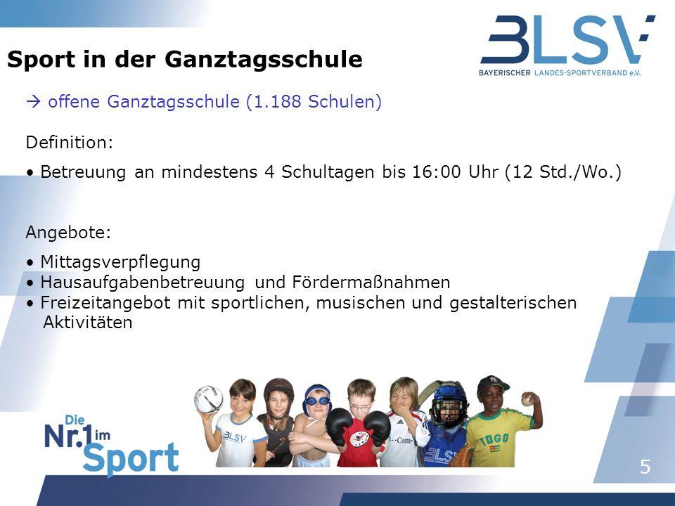 5 Sport in der Ganztagsschule offene Ganztagsschule (1.188 Schulen) Definition: Betreuung an mindestens 4 Schultagen bis 16:00 Uhr (12 Std./Wo.) Angeb