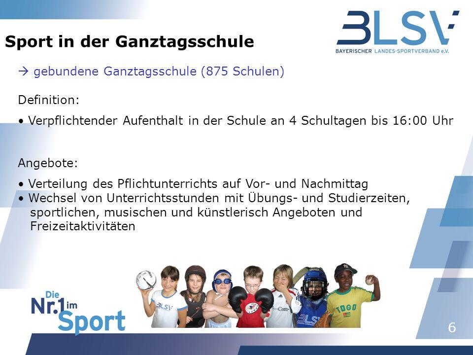 6 Sport in der Ganztagsschule gebundene Ganztagsschule (875 Schulen) Definition: Verpflichtender Aufenthalt in der Schule an 4 Schultagen bis 16:00 Uh