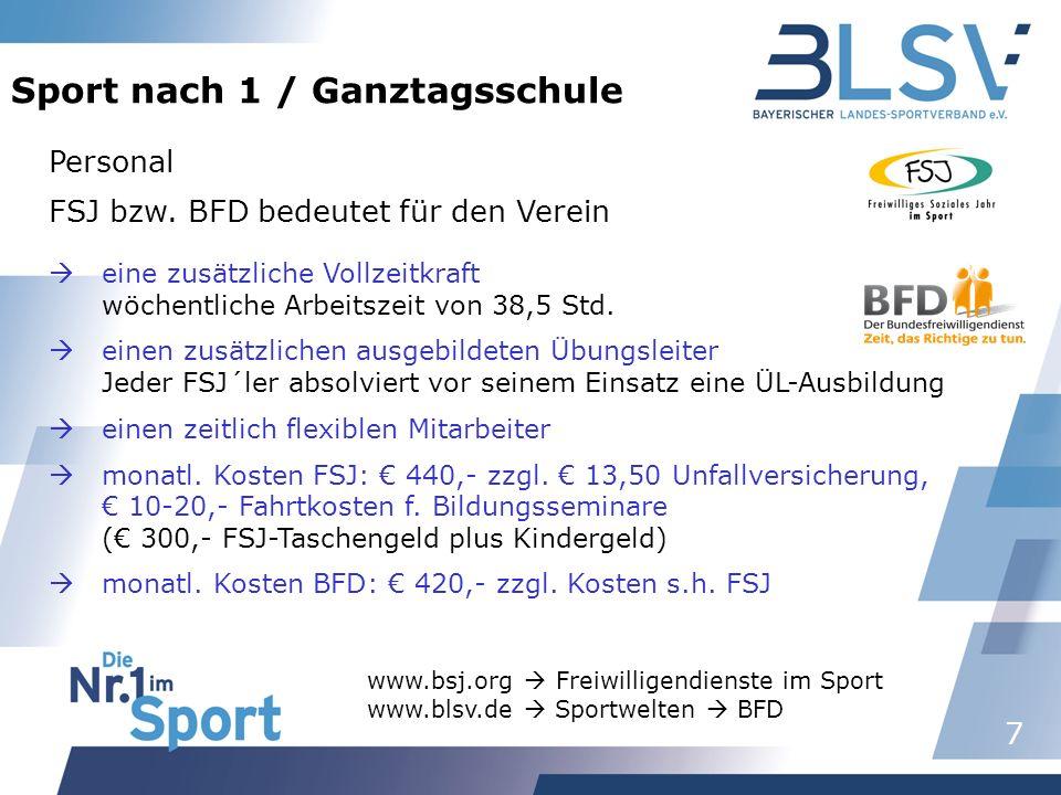 7 Sport nach 1 / Ganztagsschule Personal FSJ bzw. BFD bedeutet für den Verein eine zusätzliche Vollzeitkraft wöchentliche Arbeitszeit von 38,5 Std. ei