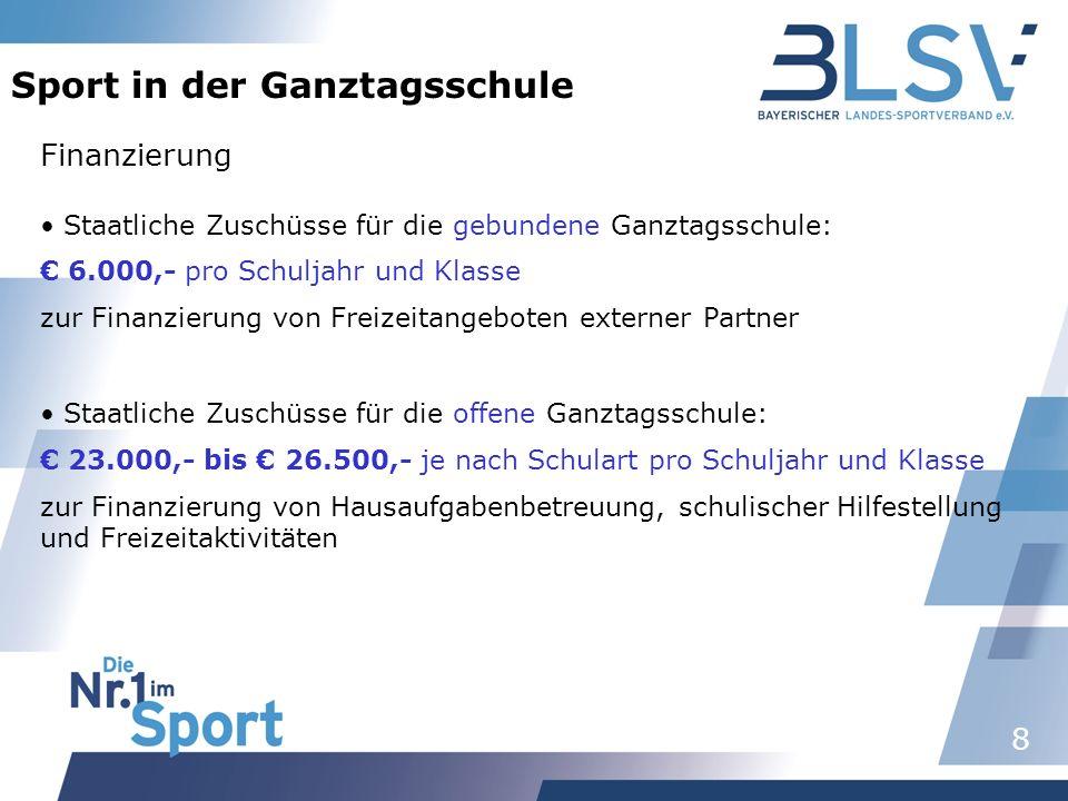 9 Sport in der Ganztagsschule Sport nach 1 oder Sport in der Ganztagsschule Sport nach 1Sport in der Ganztagsschule 140,- /Schuljahr und zweistündige SAG Honorar verhandelbar zwischen Schule und Partner, ca.