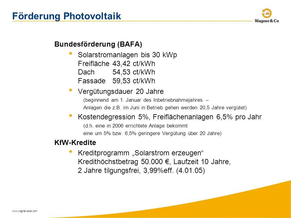 www.wagner-solar.com Förderung Photovoltaik Bundesförderung (BAFA) Solarstromanlagen bis 30 kWp Freifläche43,42 ct/kWh Dach54,53 ct/kWh Fassade59,53 c