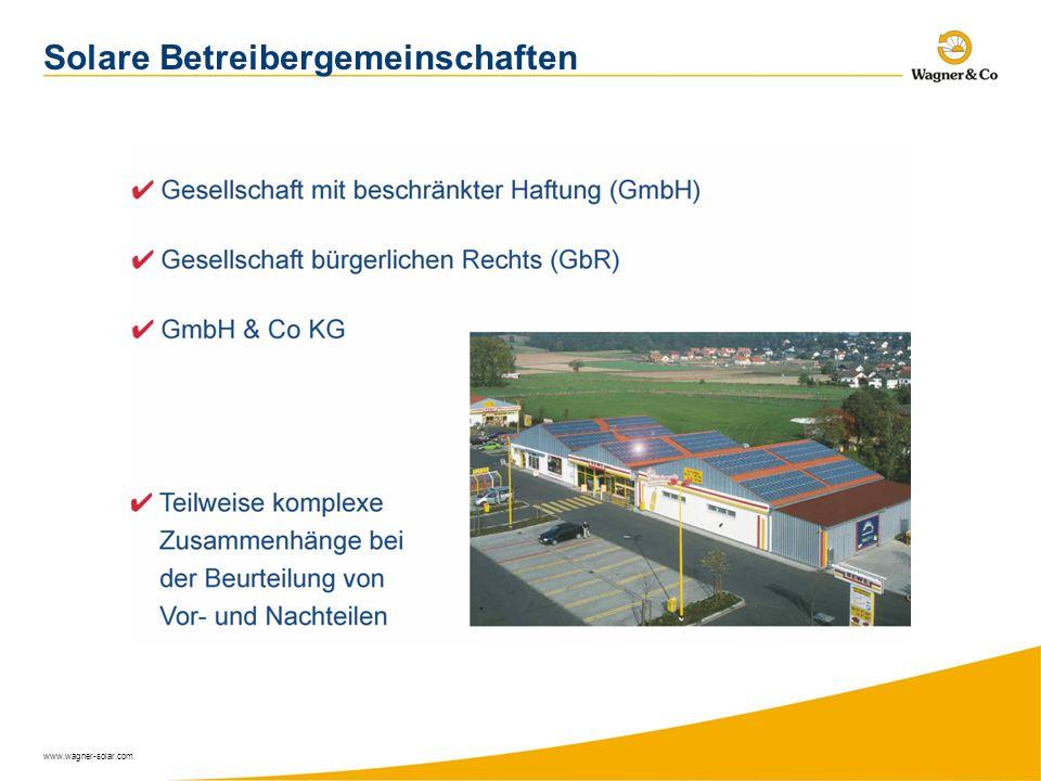 www.wagner-solar.com Solare Betreibergemeinschaften