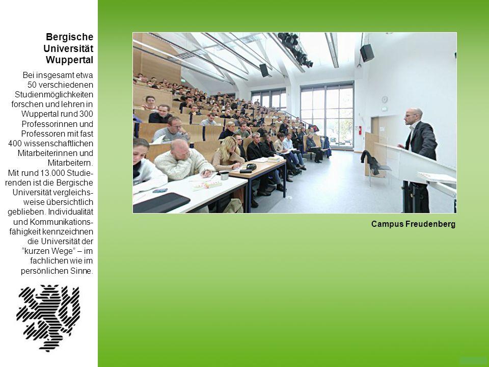 Bei insgesamt etwa 50 verschiedenen Studienmöglichkeiten forschen und lehren in Wuppertal rund 300 Professorinnen und Professoren mit fast 400 wissens