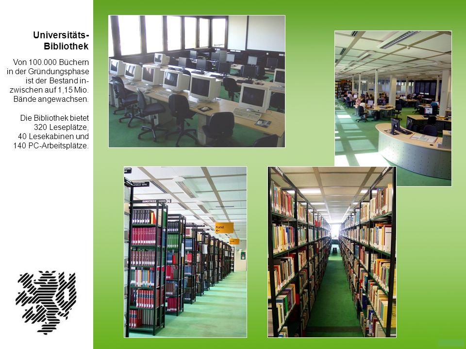 Von 100.000 Büchern in der Gründungsphase ist der Bestand in- zwischen auf 1,15 Mio. Bände angewachsen. Die Bibliothek bietet 320 Leseplätze, 40 Lesek