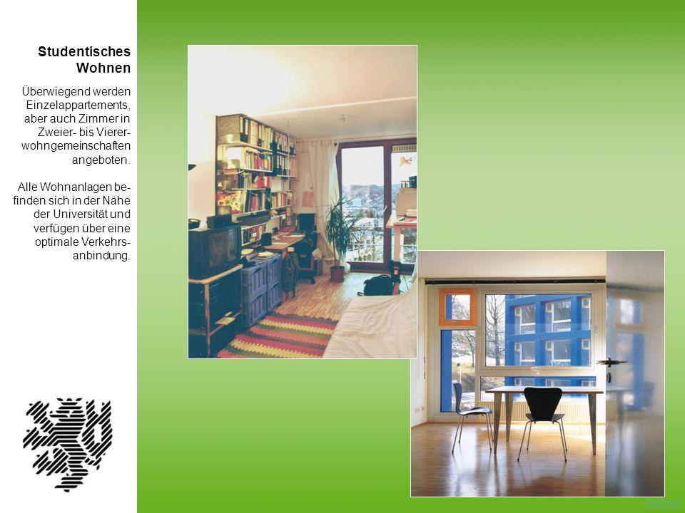 Überwiegend werden Einzelappartements, aber auch Zimmer in Zweier- bis Vierer- wohngemeinschaften angeboten. Alle Wohnanlagen be- finden sich in der N