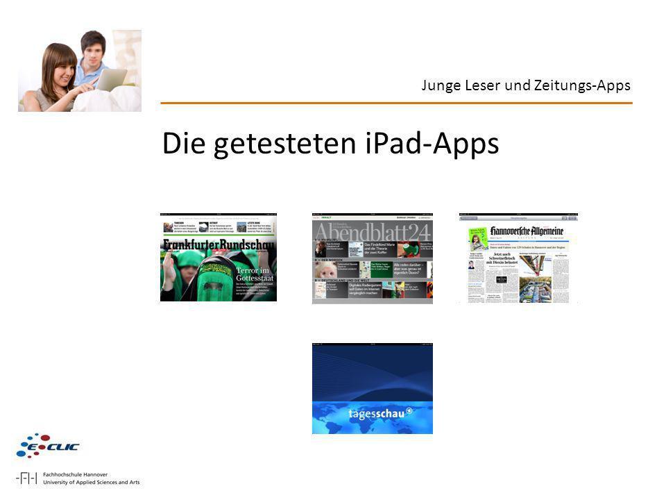 Die getesteten iPad-Apps Junge Leser und Zeitungs-Apps