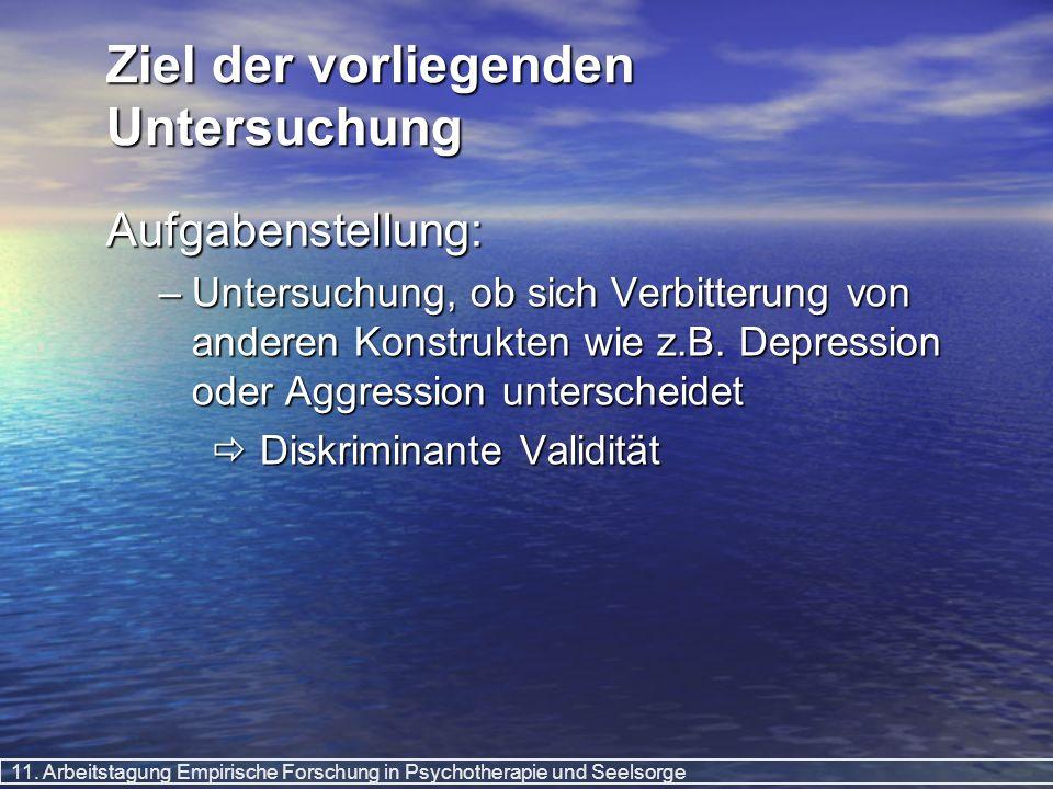 11. Arbeitstagung Empirische Forschung in Psychotherapie und Seelsorge Ziel der vorliegenden Untersuchung Aufgabenstellung: –Untersuchung, ob sich Ver