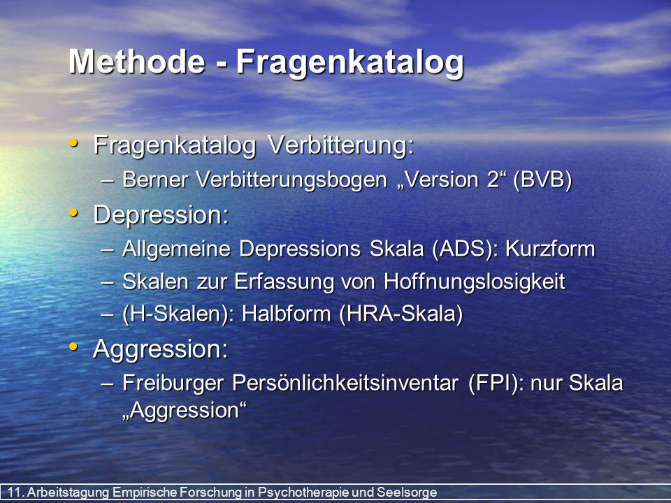 11. Arbeitstagung Empirische Forschung in Psychotherapie und Seelsorge Methode - Fragenkatalog Fragenkatalog Verbitterung: Fragenkatalog Verbitterung: