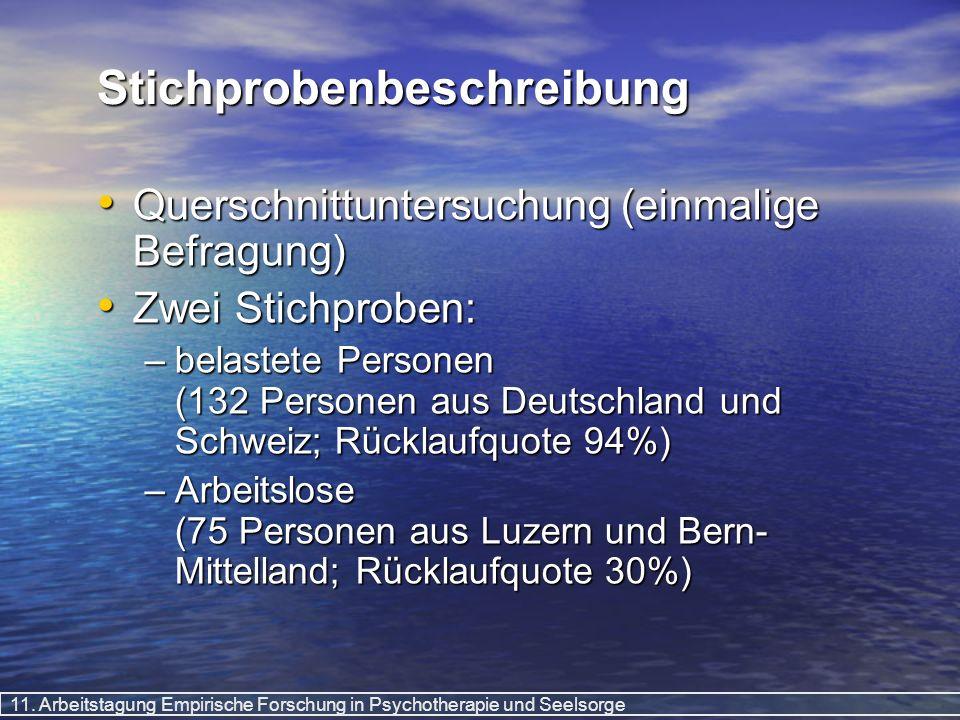 11. Arbeitstagung Empirische Forschung in Psychotherapie und Seelsorge Stichprobenbeschreibung Querschnittuntersuchung (einmalige Befragung) Querschni