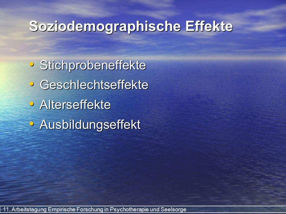 11. Arbeitstagung Empirische Forschung in Psychotherapie und Seelsorge Soziodemographische Effekte Stichprobeneffekte Stichprobeneffekte Geschlechtsef