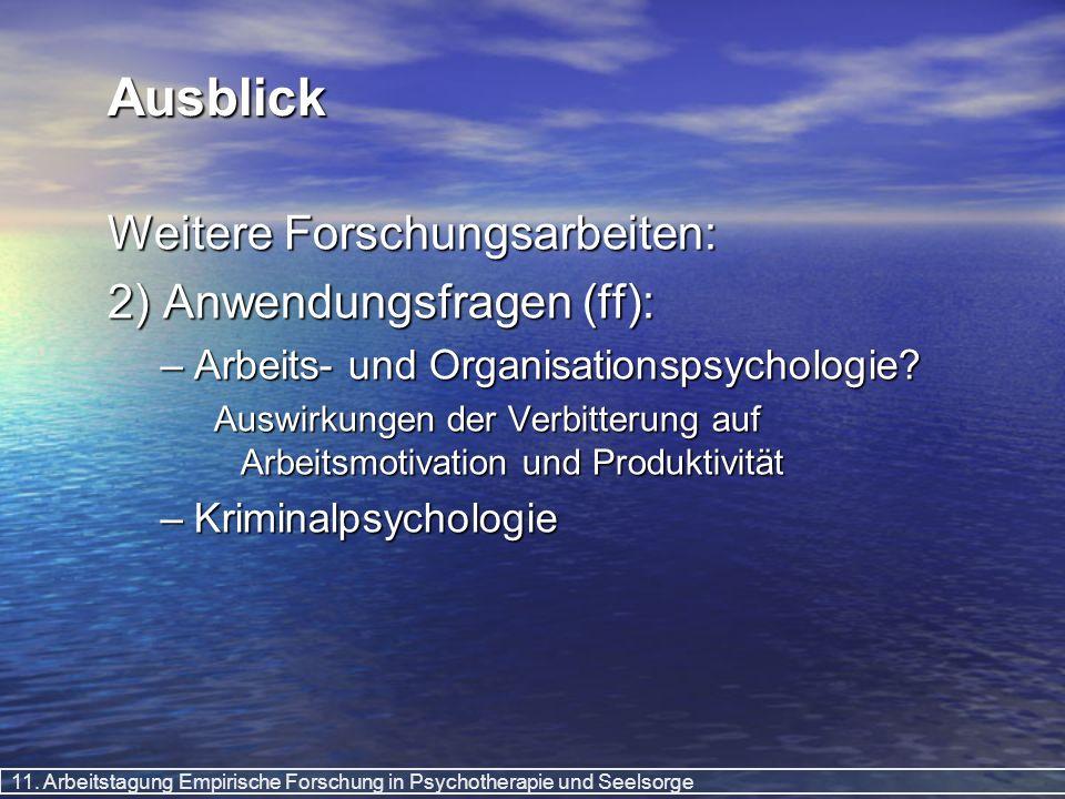 11. Arbeitstagung Empirische Forschung in Psychotherapie und Seelsorge Ausblick Weitere Forschungsarbeiten: 2) Anwendungsfragen (ff): –Arbeits- und Or