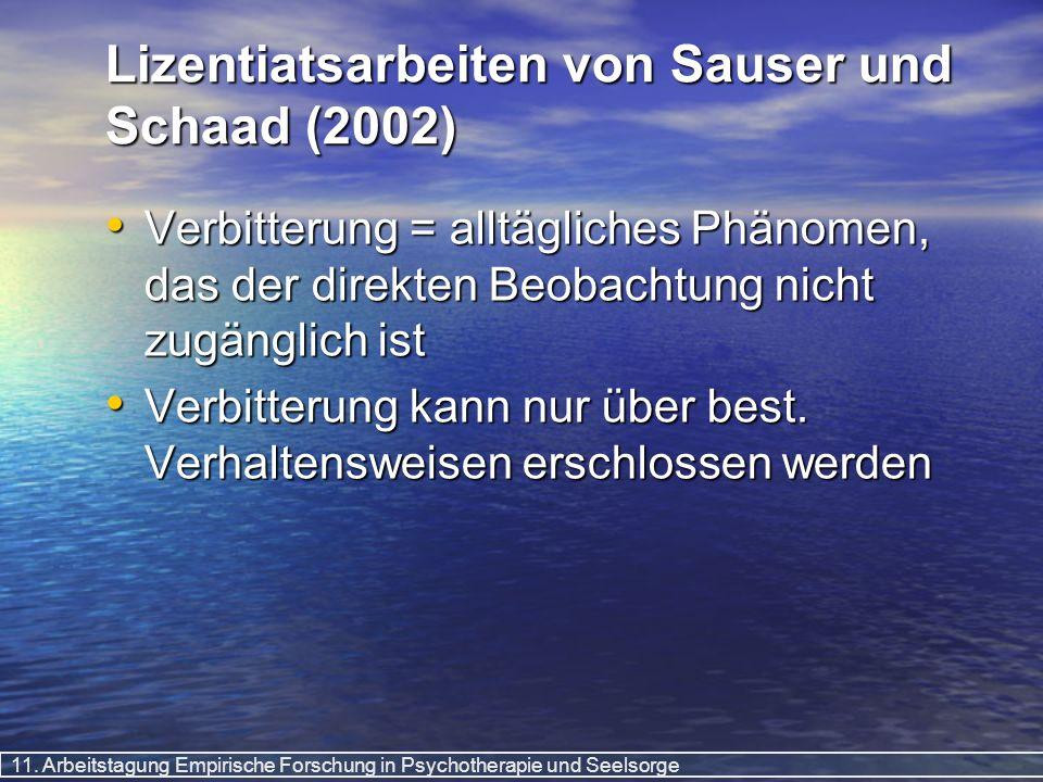 11. Arbeitstagung Empirische Forschung in Psychotherapie und Seelsorge Lizentiatsarbeiten von Sauser und Schaad (2002) Verbitterung = alltägliches Phä