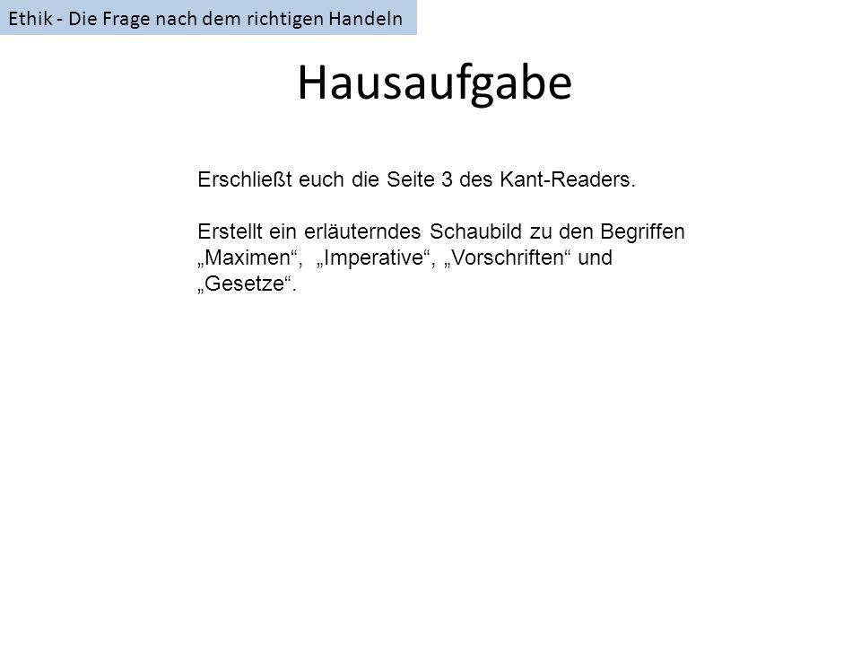 Hausaufgabe Erschließt euch die Seite 3 des Kant-Readers. Erstellt ein erläuterndes Schaubild zu den Begriffen Maximen, Imperative, Vorschriften und G