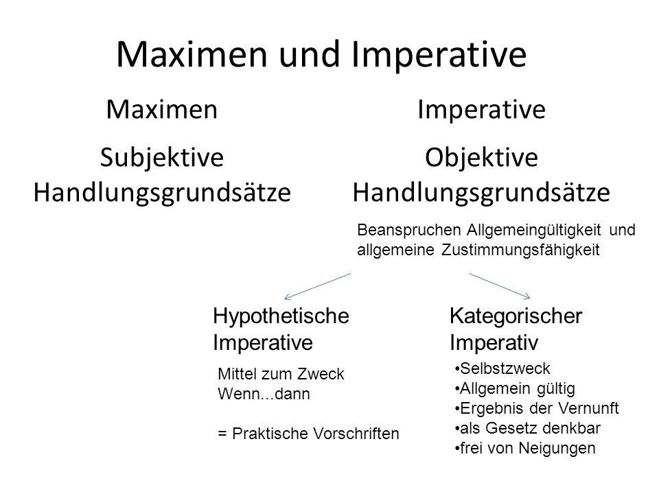 Maximen und Imperative Maximen Subjektive Handlungsgrundsätze Imperative Objektive Handlungsgrundsätze Beanspruchen Allgemeingültigkeit und allgemeine