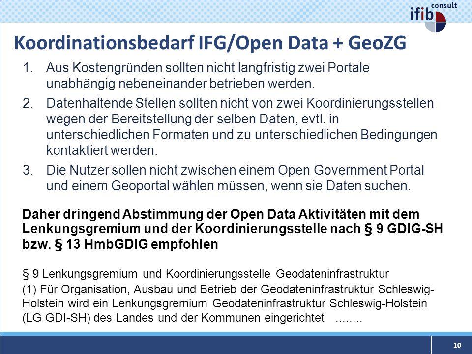 Koordinationsbedarf IFG/Open Data + GeoZG 10 1.Aus Kostengründen sollten nicht langfristig zwei Portale unabhängig nebeneinander betrieben werden. 2.D