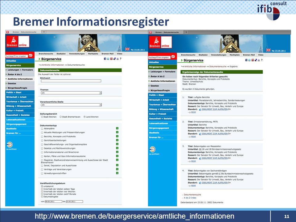 Bremer Informationsregister 11 http://www.bremen.de/buergerservice/amtliche_informationen