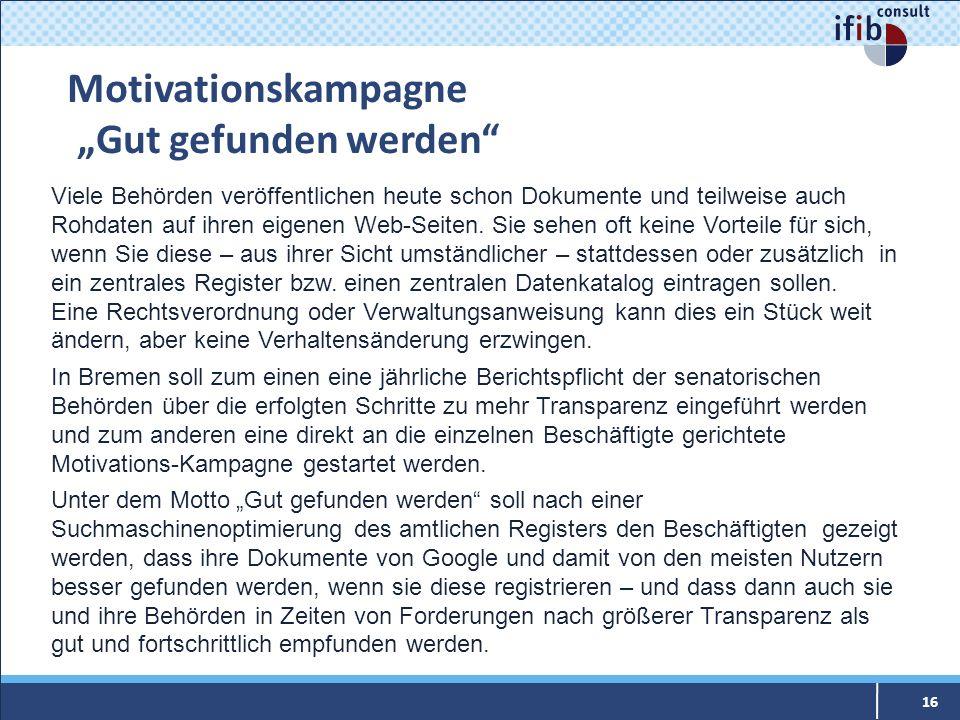 Motivationskampagne Gut gefunden werden 16 Viele Behörden veröffentlichen heute schon Dokumente und teilweise auch Rohdaten auf ihren eigenen Web-Seit