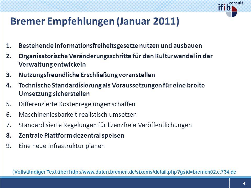 Bremer Empfehlungen (Januar 2011) 1.Bestehende Informationsfreiheitsgesetze nutzen und ausbauen 2.Organisatorische Veränderungsschritte für den Kultur