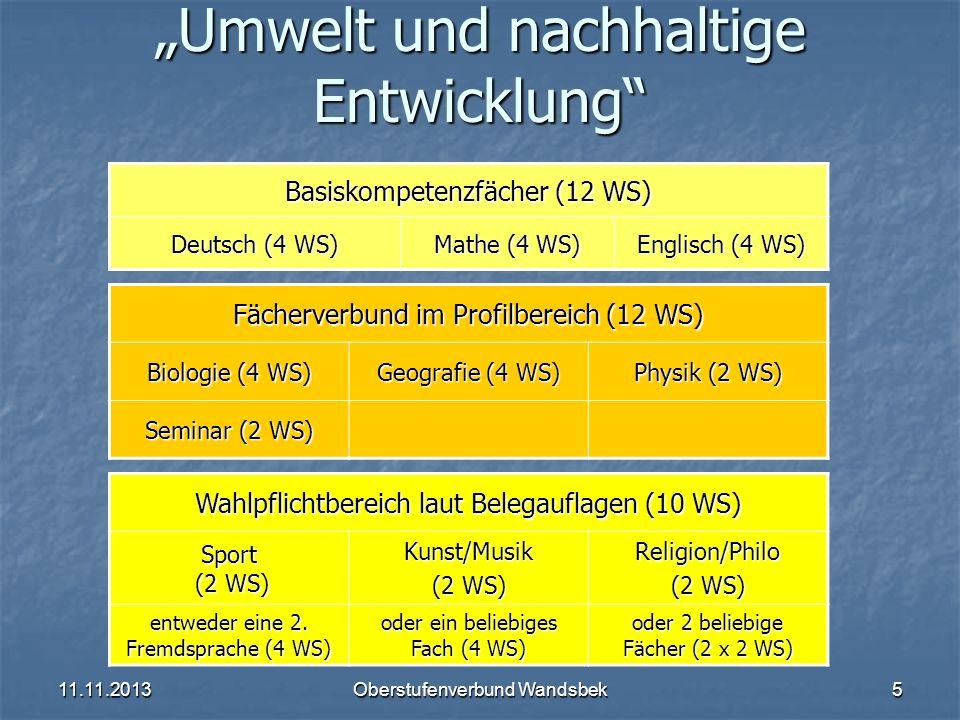 11.11.2013Oberstufenverbund Wandsbek5 Umwelt und nachhaltige Entwicklung Basiskompetenzfächer (12 WS) Deutsch (4 WS) Mathe (4 WS) Englisch (4 WS) Fäch