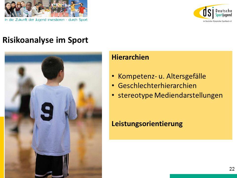 Risikoanalyse im Sport Hierarchien Kompetenz- u. Altersgefälle Geschlechterhierarchien stereotype Mediendarstellungen Leistungsorientierung 22