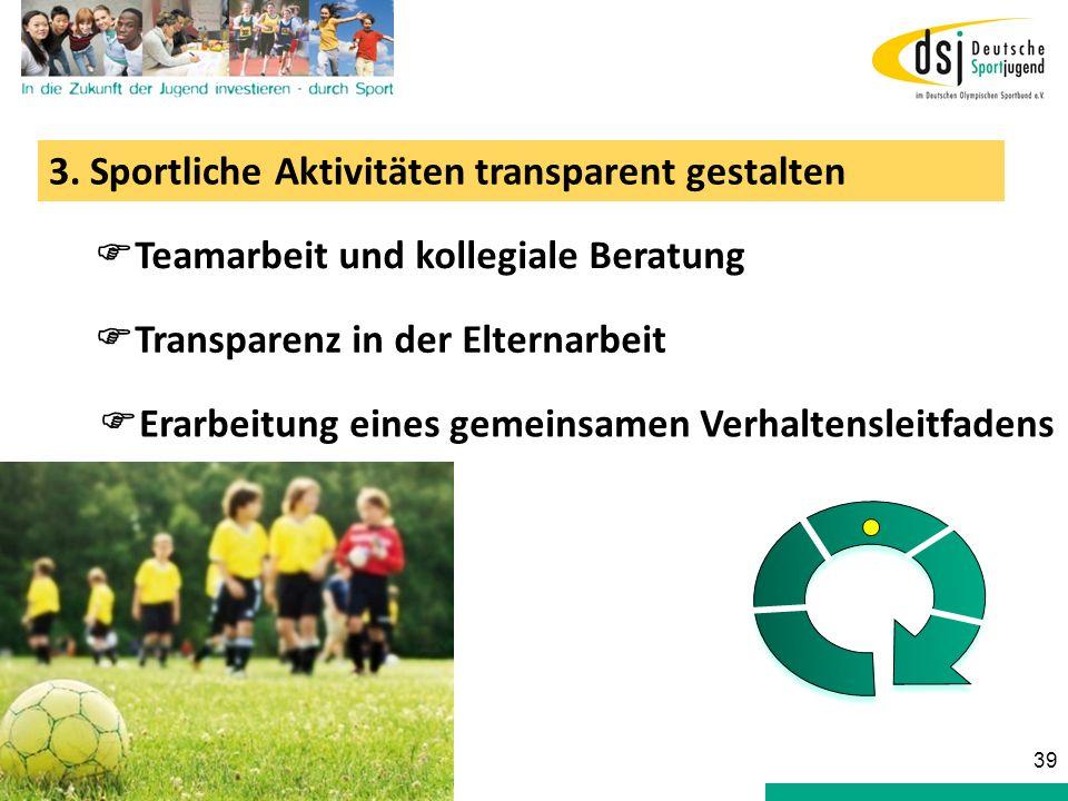 3. Sportliche Aktivitäten transparent gestalten Teamarbeit und kollegiale Beratung Transparenz in der Elternarbeit Erarbeitung eines gemeinsamen Verha