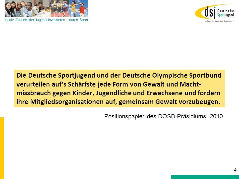 Die Deutsche Sportjugend und der Deutsche Olympische Sportbund verurteilen aufs Schärfste jede Form von Gewalt und Macht- missbrauch gegen Kinder, Jug