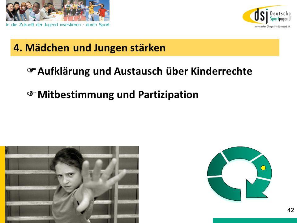 4. Mädchen und Jungen stärken Aufklärung und Austausch über Kinderrechte Mitbestimmung und Partizipation 42