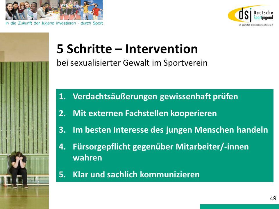 5 Schritte – Intervention bei sexualisierter Gewalt im Sportverein 1.Verdachtsäußerungen gewissenhaft prüfen 2.Mit externen Fachstellen kooperieren 3.