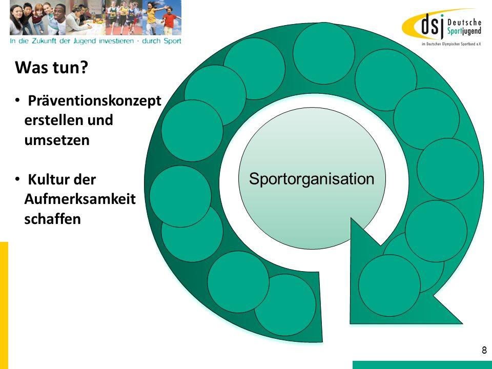 Sportorganisation Was tun? Präventionskonzept erstellen und umsetzen Kultur der Aufmerksamkeit schaffen 8