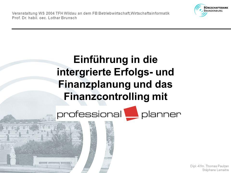 Integriertes Planungs- / Controllingsystem Professional Planner (Winterheller Software, Graz) zum Einsatz in den Unternehmen abgestimmt auf die Organisationsstrukturen und das Rechnungswesen vor Ort MBG-Planer als spezifisches Werkzeug zum Einsatz bei für Aufgaben des externen Controllings Das Produkt Professional Planner