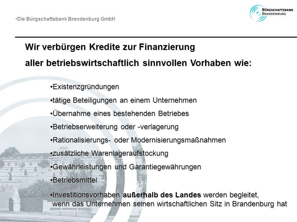 Wir verbürgen Kredite zur Finanzierung aller betriebswirtschaftlich sinnvollen Vorhaben wie: ExistenzgründungenExistenzgründungen tätige Beteiligungen
