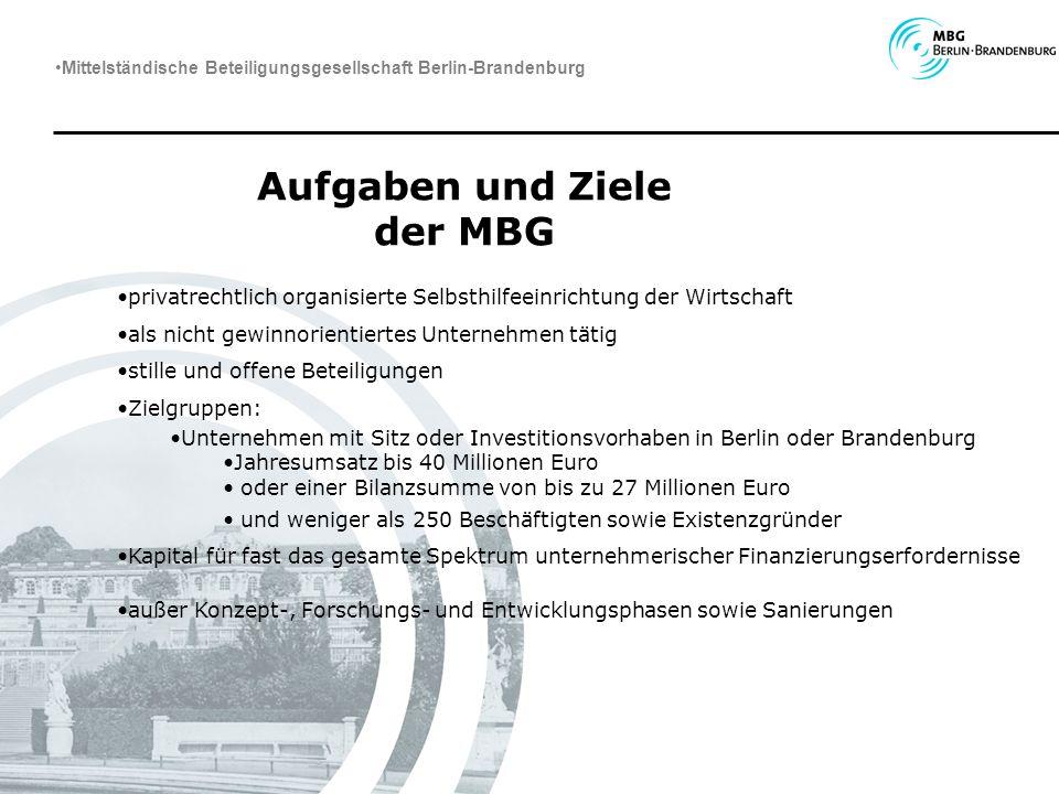 Aufgaben und Ziele der MBG privatrechtlich organisierte Selbsthilfeeinrichtung der Wirtschaft als nicht gewinnorientiertes Unternehmen tätig stille un