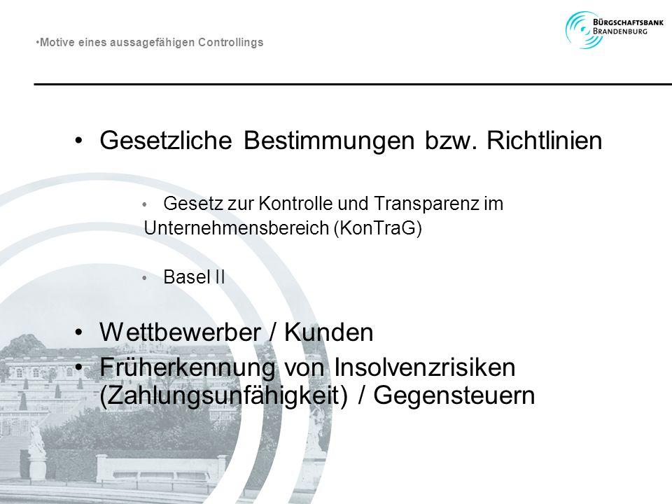 Gesetzliche Bestimmungen bzw. Richtlinien Gesetz zur Kontrolle und Transparenz im Unternehmensbereich (KonTraG) Basel II Wettbewerber / Kunden Früherk