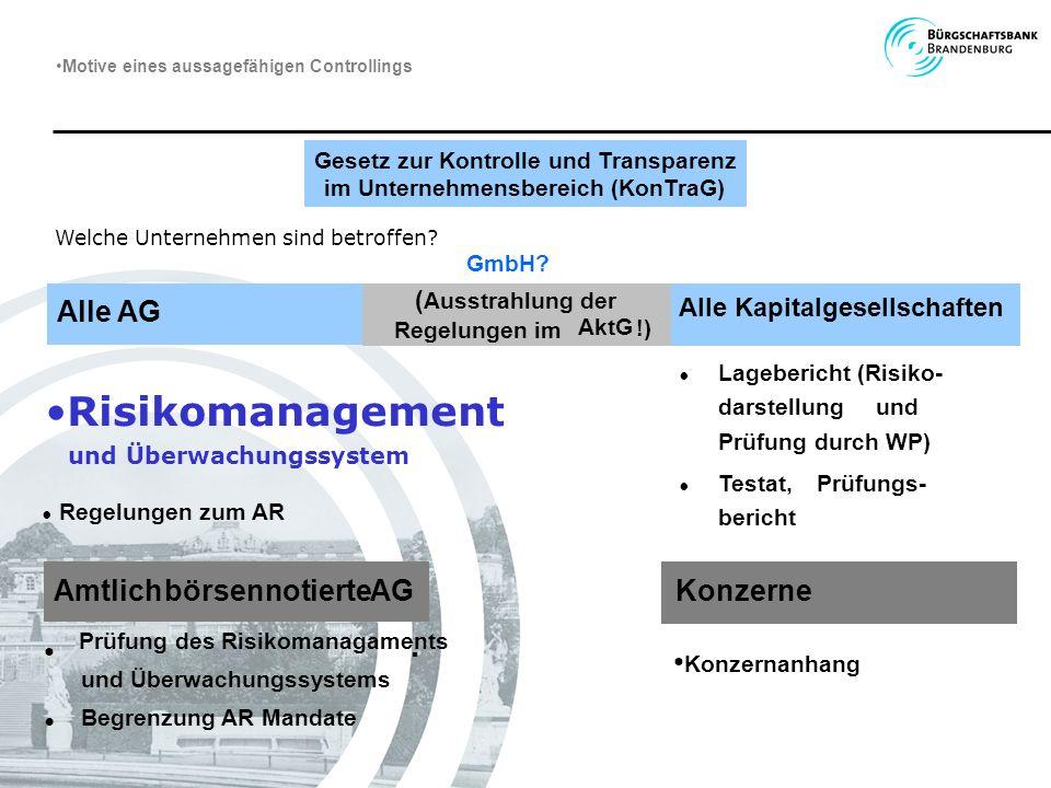 Gesetz zur Kontrolle und Transparenz im Unternehmensbereich (KonTraG) Welche Unternehmen sind betroffen? Prüfung des Risikomanagaments. und Überwachun